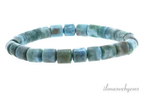Larimar bead bracelet approx 6.5x6.5mm