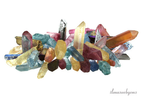Rock crystal obelisks electro plated approx. 20-30x7mm