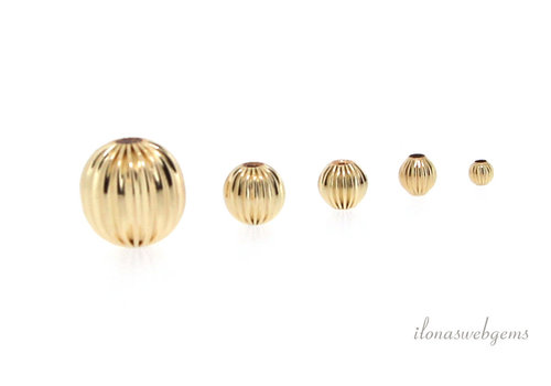 """14/20 Gold filled kraal """"ribbel"""" ca. 6mm"""