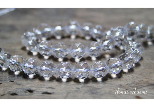 Rock crystal beads large facet about 6mm