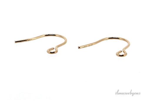 1 paar 14k/20 Gold filled oorhaakjes minimalistisch ca.  11x10mm