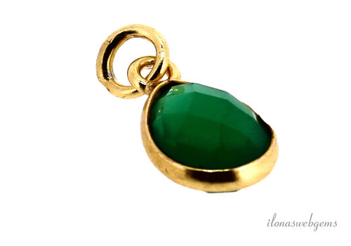 Vermeil pendant with green Onyx approx. 14.5x8x4.5mm