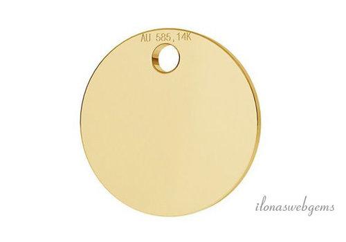 14 krt gouden Labeltje 8mm