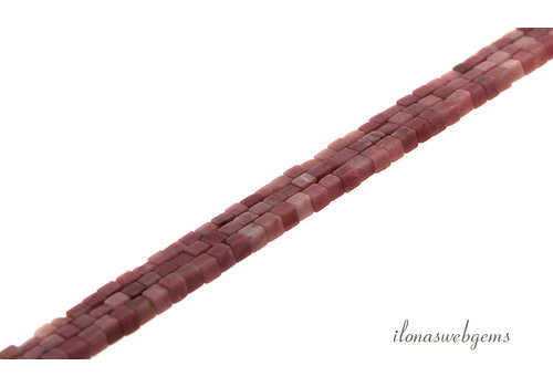 Rhodoniet mini kubus kralen ca. 2.5x2.5mm