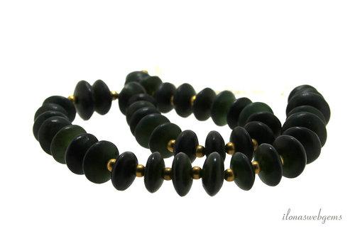 Jadescheiben dunkelgrün ca. 14x6mm