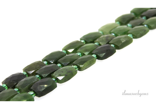 Canadian Jade beads facet around 14x10x5.5mm
