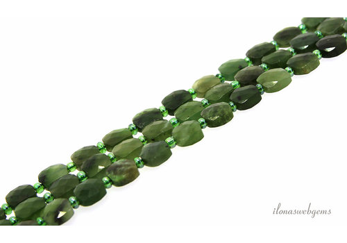 Canadian Jade beads faceted square about 8mm