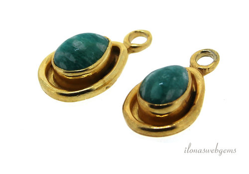 14 carat Vermeil pendant with Russian Amazonite approx. 15x9x4mm