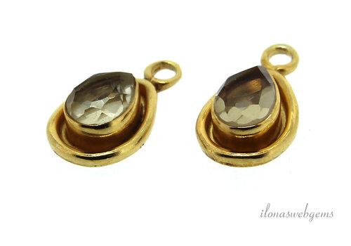 14 carat Vermeil pendant with light Smoky Quartz approx. 15x9x4mm