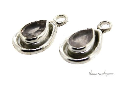 Sterling zilveren hangertje met lichte Rozenkwarts ca. 15x9x4mm