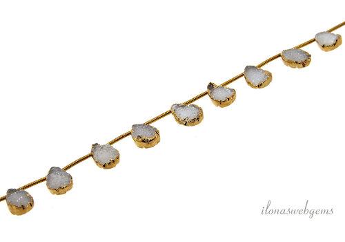 Druzy agaat druppeltjes wit 14 karaat Vermeil electro plated ca. 11x8mm