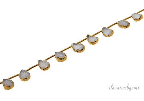 Druzy agate droplets white 14 carat Vermeil electro plated about 11x8mm