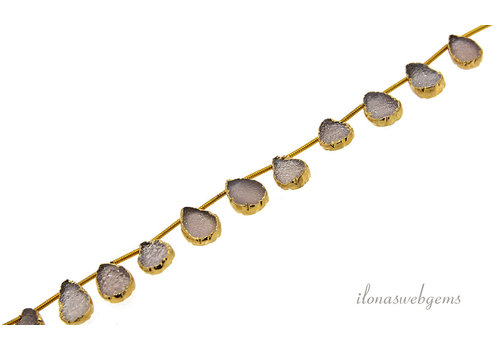 Druzy Agate droplets pink 14 carat Vermeil electro plated about 13x9mm