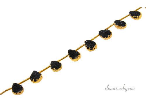 Druzy Agaat druppeltjes zwart 14 karaat Vermeil electro plated ca. 11x8mm