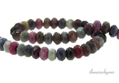 Sapphire and Ruby beads mix faceted roundel about 5x3.5mm AA quality cut