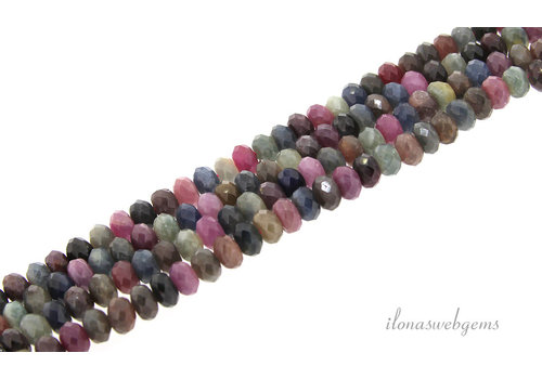 Sapphire and Ruby beads mix faceted roundel about 8x5mm AA quality cut