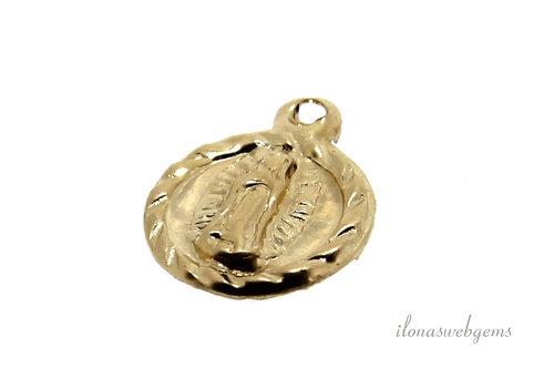 """14k/20 Gold filled bedeltje """"Virgin Guadalupe"""" ca. 8.5mm"""