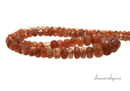 Sunstone beads faceted A quality ascending and descending from about 4x3 to 9x6mm