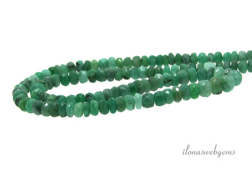 Emerald beads faceted roundel about 3 - 4mm