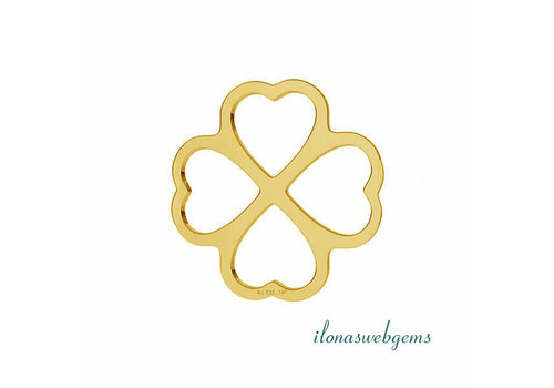 14 carat gold connector Clover approx. 9 mm