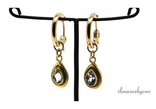 Gold filled creolen met Vermeil hangertje Aquamarijn
