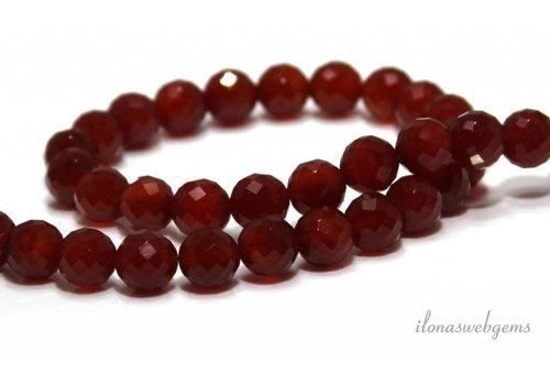 Carnelian - Carnelian faceted beads around 8mm
