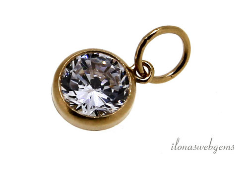 14k/20 Gold filled hangertje Cubic zirconia ca. 6mm