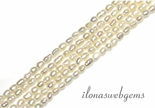 Rice pearls freshwater white A quality approx. 3.5x2.5mm