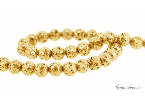Lavasteen kralen goud rond ca. 4-5mm