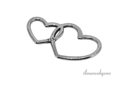 Sterling zilveren connector hartjes ca. 14x8mm