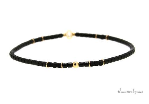 Armandje 14 krt Gold filled, zwarte Hematiet