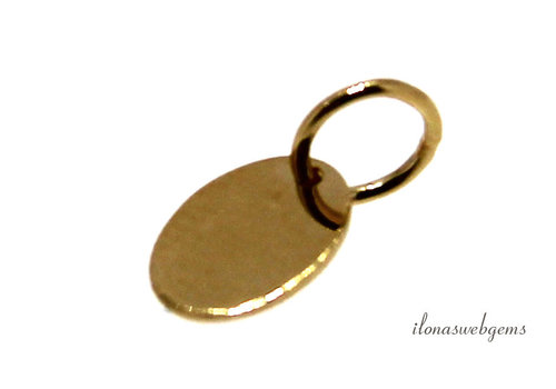 14krt/20 Gold filled labeltje ovaal ca. 7.3x5.5mm