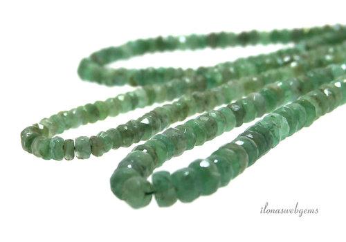 Smaragd kralen facet rondel op- en aflopend van ca. 4x2.5 tot 5.5x4mm