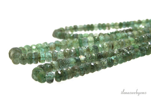 Emerald beads faceted roundel ascending and descending from approx. 4.5x3 to 5.5x3.5mm