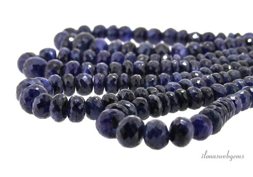 4 strands Sapphire beads faceted roundel ascending and descending from about 4x3 to 13x10mm