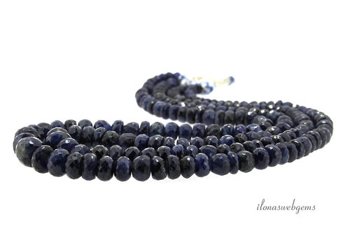 2 strands Sapphire beads faceted roundel ascending and descending from about 4x3 to 11.5x10mm