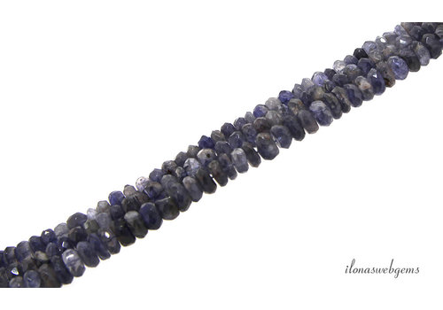 iolite beads faceted roundel about 7.5x3mm