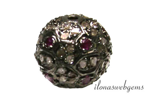 Sterling Silver bead with diamond en Ruby