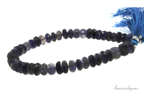 iolite beads faceted roundel A quality about 8x5mm