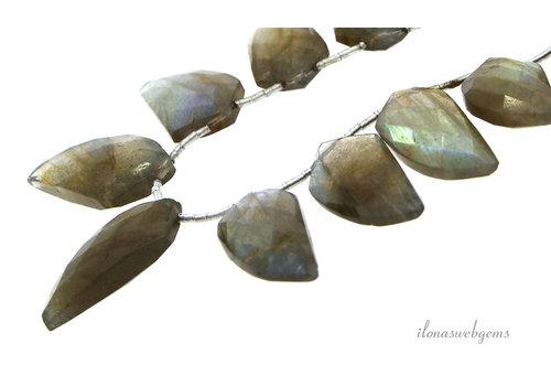 Labradorit lässt die AA-Qualität von ca. 15 x 8 x 4 auf 23 x 13 x 7 mm auf- und absteigen
