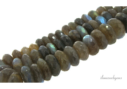 Labradorite beads large faceted roundel about 12-15x6-8mm AA quality