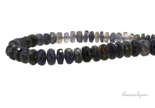 iolite beads faceted roundel A quality, ranging from approx. 6x3 to 9x6mm