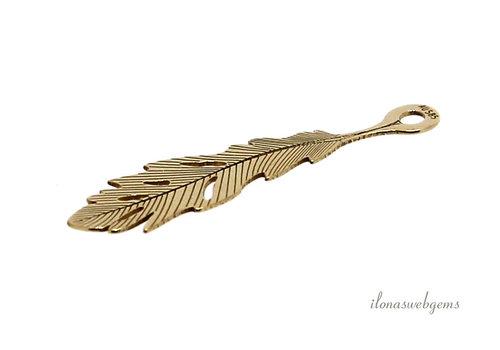 14 kt gold pendant leaf 19.5 mm