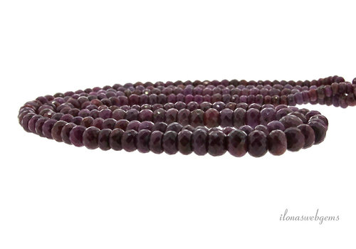 Ruby beads faceted roundel A quality ascending and descending from about 5x3 to 9x7mm