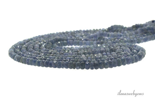 4 strands Sapphire beads faceted roundel A quality ascending and descending from approx. 3x2 to 6x4mm