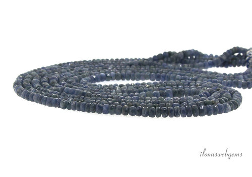 Sapphire beads faceted roundel A quality ascending and descending from approx. 4.5x3 to 6x4mm