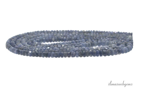 3 strands Sapphire beads faceted roundel A quality ascending and descending from approx. 2.5x2.5 to 6x3.5mm