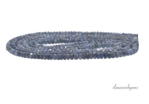 3 strengen Saffier kralen facet rondel A kwaliteit op- en aflopend van ca. 2.5x2.5 tot 6x3.5mm