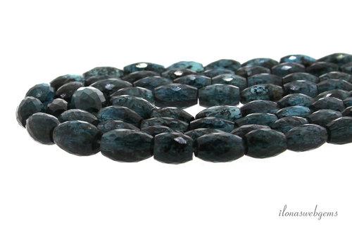 Kyaniet teal blue facet tonnetjes A kwaliteit op- en aflopend van  ca. 6.5x5 tot 10x6.5mm