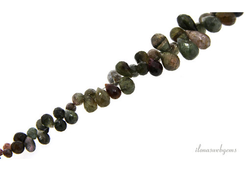 Tourmaline faceted droplets A quality ascending and descending from approx. 5x3.5 to 10x6mm